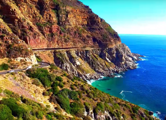 cape town chapmans peak scenic route drone footage south africa