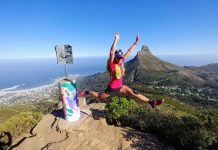 Table mountain Cape Town South Africa aerial