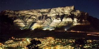 table mountain night south africa cape town travel