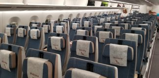 south african airways empty seats plane