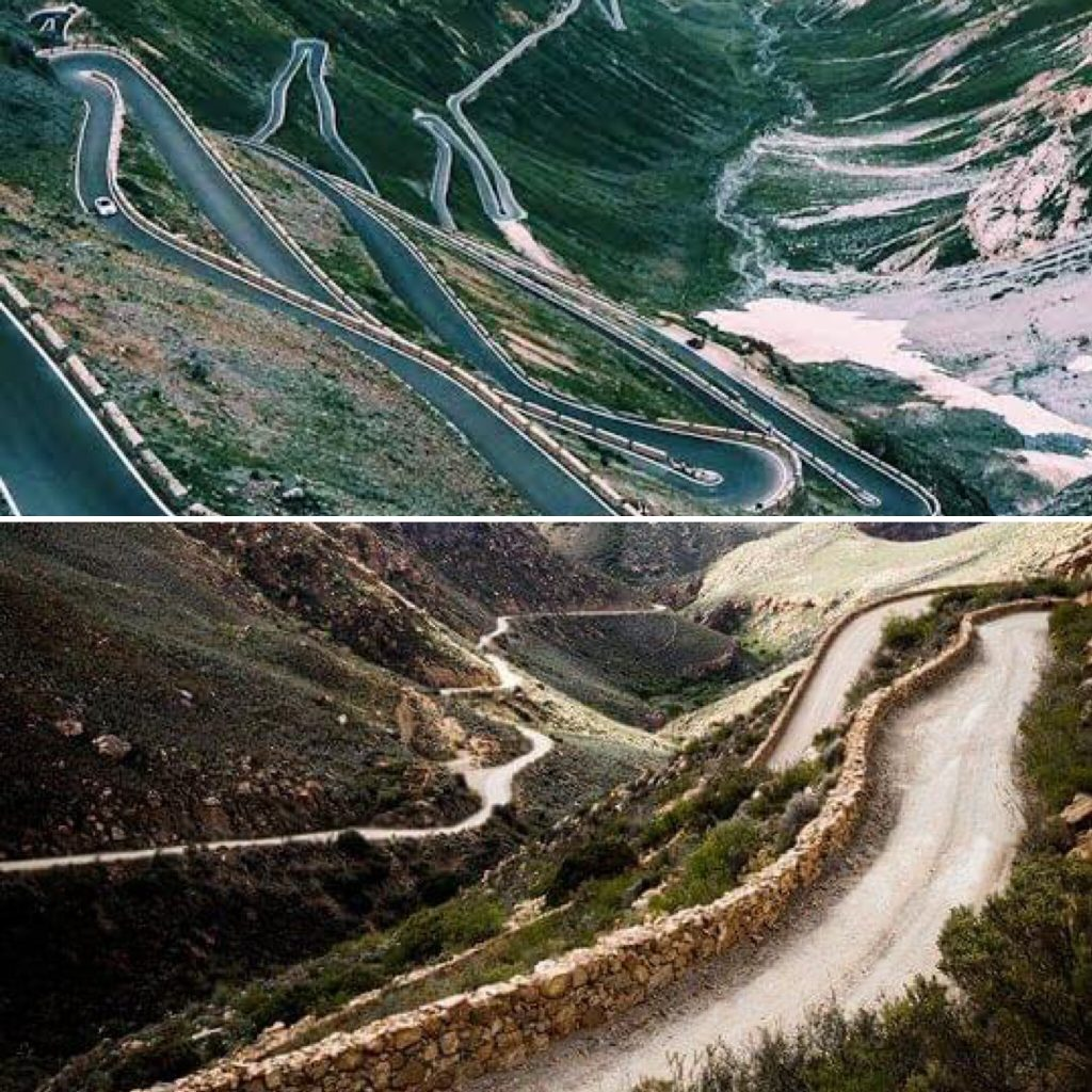 stelvio pass swartberg pass south africa italy travel split picture