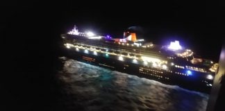 queen mary 2 nighttime south africa cruise ship liner