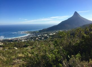 cape town table mountain pipe track hiking atlantic south africa